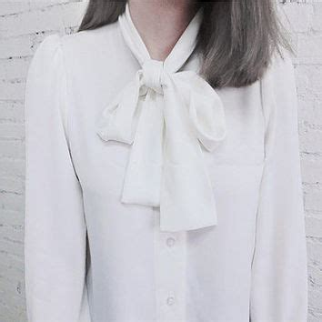 White High Neck Blouse With Bow by White Sleeve Blouse With Bow Fashion Ql