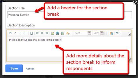 add section break add sectional breaks to organize your surveys