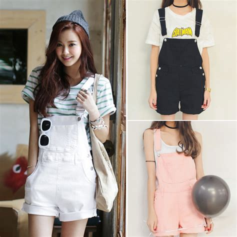 Kalung Fashion Korea Import White 1 shorts kawaii pink suspender shorts pastel pastel pink kei gyaru harajuku