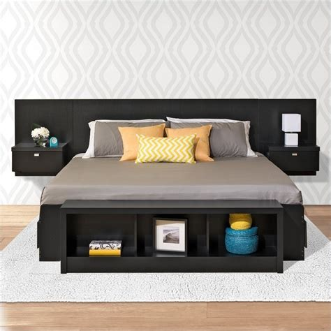 Platform Beds With Headboard Platform Storage Bed With Floating Headboard In Black Bbx Bhhx Bed