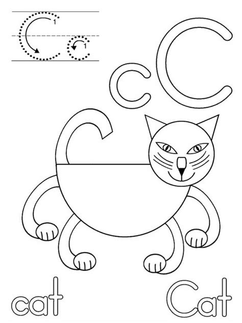 letter c caterpillar coloring page common worksheets coloring letter c cat coloring page