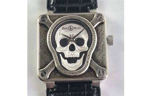 Bell Silver Black Leather by Bell Ross Br01 92 Burning Skull Silver