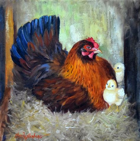 Dancing Brush Art By Cheri Wollenberg Mama Red Hen And Chicks Farm Animal Painting Animal Painting For