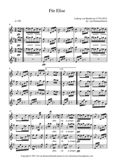 beethoven biography fur elise beethoven f 252 r elise for saxophone quartet