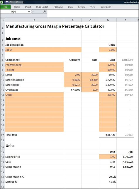margin calculator excel template formula to calculate gross margin in excel how to