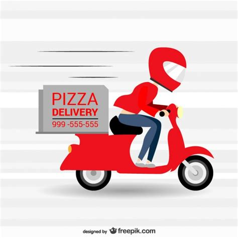 pizza delivery pizza delivery in a motorbike vector free