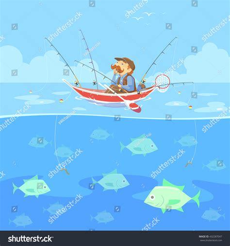 cartoon man in boat fishing cartoon man no fishing boat vector stock vector 432287047