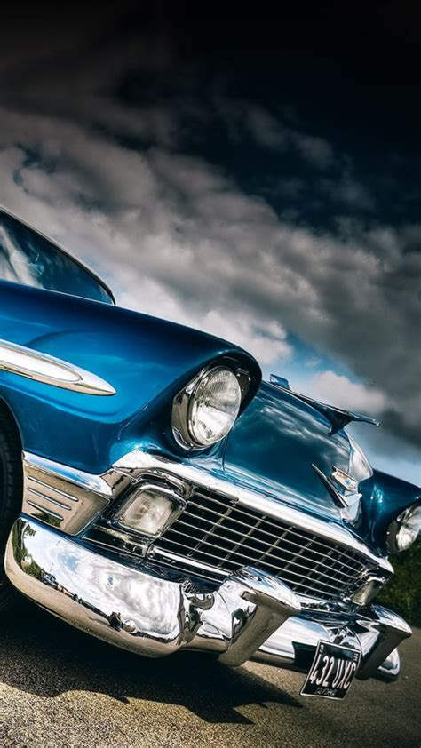 Classic Car Wallpaper For Iphone by Classic Car Blue Wallpaper Free Iphone Wallpapers