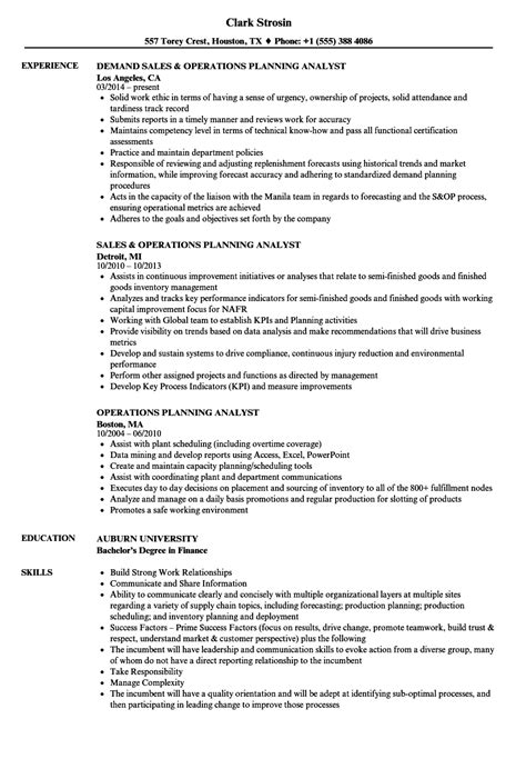 Operations Analyst Resume Exle by Demand Planning Analyst 28 Images Demand Planner