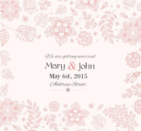 Free Vector Invitation Card Template by Free Flowers Wedding Invitation Card Template Vector