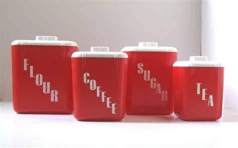 red kitchen canisters set kitchen canister set vintage red kitchen by thevintageresource