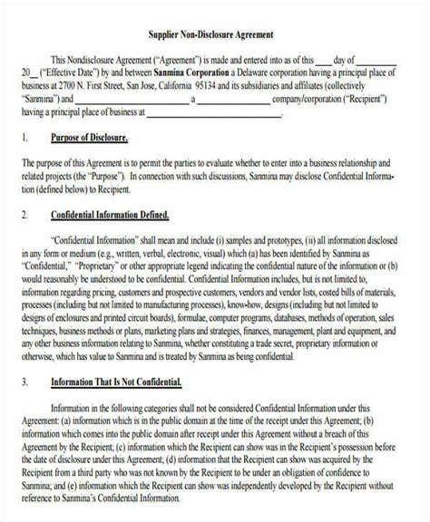 vendor confidentiality agreement template 9 vendor confidentiality agreements free sle