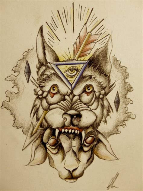 old wolf tattoo design by onichollsart on deviantart