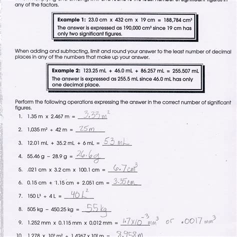 Chemistry Measurements And Calculations Worksheet by Metrics And Measurement Worksheet Answers Worksheet Resume