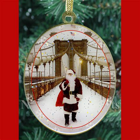 santa on brooklyn bridge new york christmas ornament