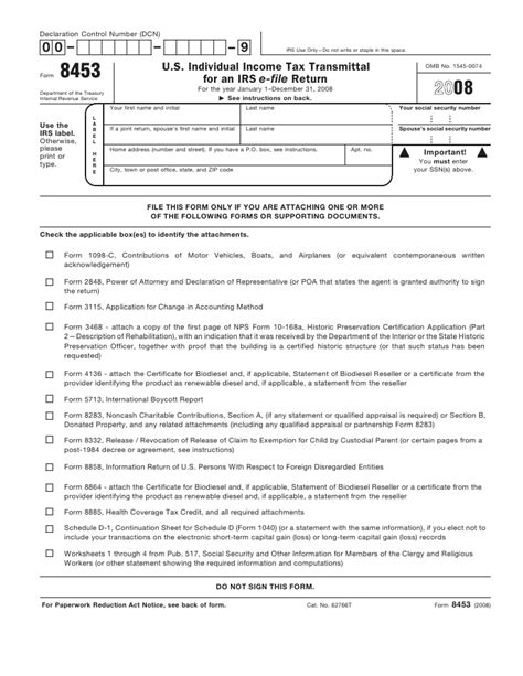 Credit Form 8932 Form 8453 U S Individual Income Tax Declaration For An Irs E File Re