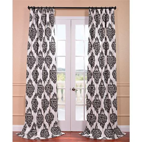ikat curtain panel ikat black printed cotton curtain panel overstock com