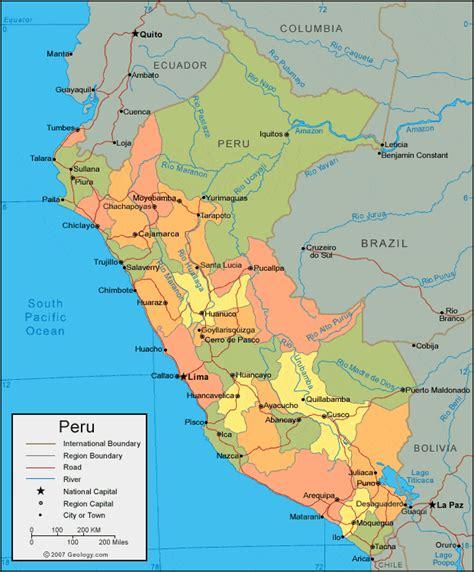 map peru south america peru map and satellite image
