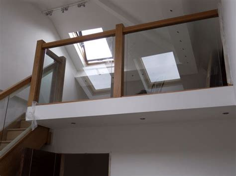 glass landing banister landing handrail with oak and glass stairs and