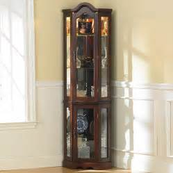 Lighted Curio Corner Cabinet Southern Enterprises Machellen Mahogany Lighted Corner