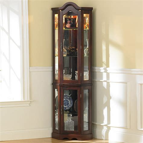 lighted corner curio cabinet southern enterprises machellen mahogany lighted corner