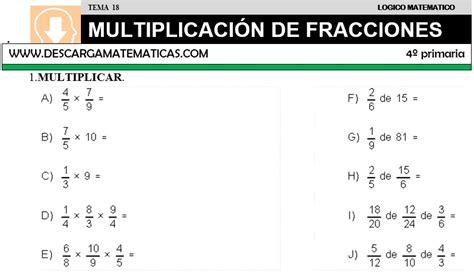 ejercicios de fracciones de cuarto de primaria descargar multiplicacion de fracciones matematica cuarto