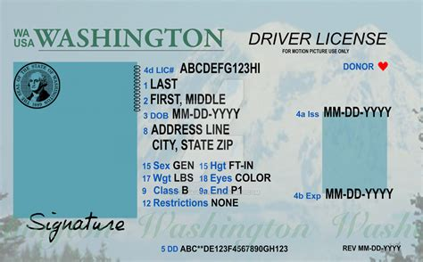 washington state id card template washington id template templates collections
