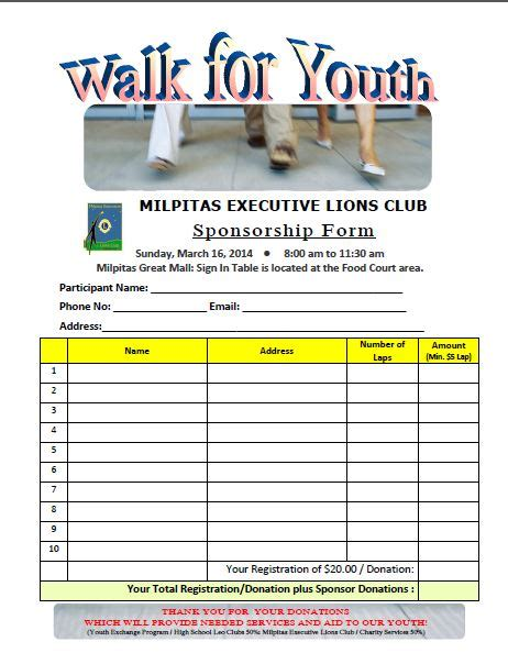 walkathon registration form template walkathon registration form template gallery free