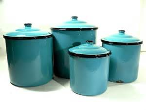 Canister Sets Kitchen Enamel Storage Canister Set Retro Kitchen Turquoise Blue