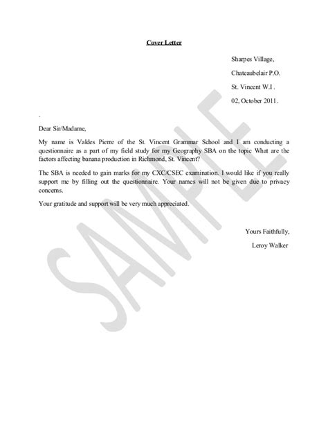 Geography Cover Letter Geography Questionnaire2