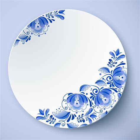 blue and white porcelain blue and white porcelain plate vector free vector