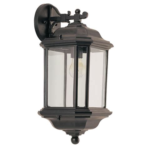 Seagull Outdoor Lighting Sea Gull Lighting Kent 1 Light Black Outdoor Wall Fixture 84032 12 The Home Depot