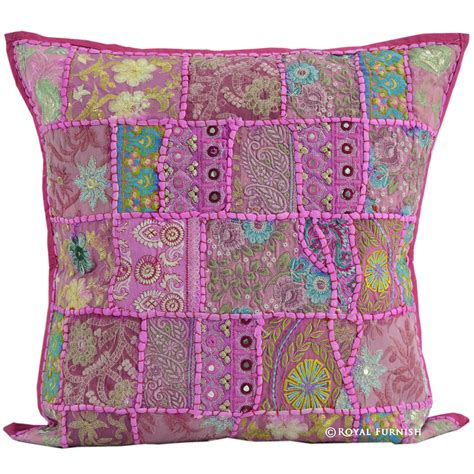 Pink Patchwork Throw - 20 quot pink indian vintage sari patchwork throw pillow