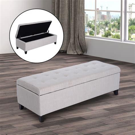 fabric ottoman storage bench 51 quot fabric storage ottoman bench with tufted top footrest