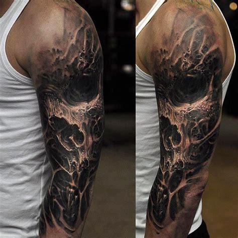 Arm Sleeve Manset Tangan Motif Skull Black 60 badass skull tattoos for masculine design ideas