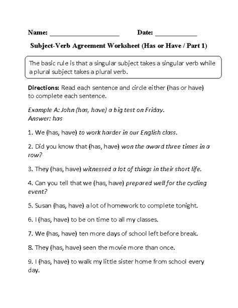 Subject Verb Agreement Worksheets 9th Grade by Verbs Worksheets Subject Verb Agreement Worksheets