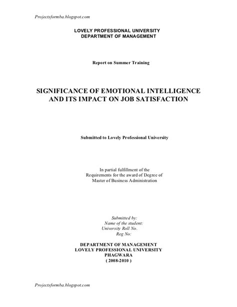 Mba Project Report On Emotional Intelligence by A Report On Significance Of Emotional Intelligence And Its