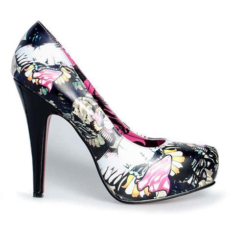 bleeding womens platform shoes skull butterfly high