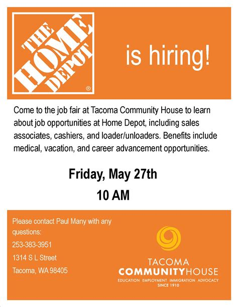 home depot hiring event tacoma community house