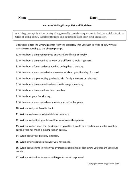 writing worksheets writing prompts worksheets