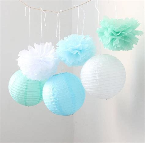 Set Of 9 Mixed Mint Green Blue White Tissue Paper Pom Poms And Paper Lantern Wedding Birthday
