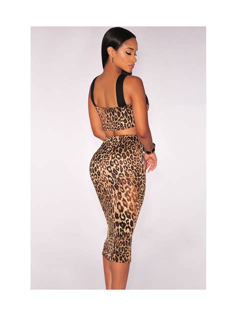 leopard print bralette padded two pieces set e60523