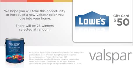 Lowes Gift Card Promotion - win a 50 lowes gift card 25 winners