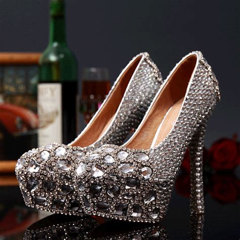 glass slipper high heels high quality 2015 rhinestone wedding shoes drill glass