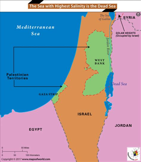 the dead sea map dead sea has the most saline water answers
