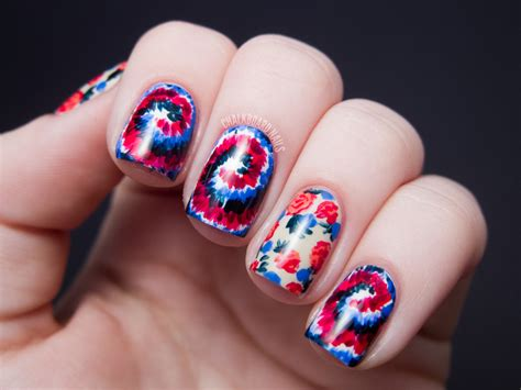 nail art tie dye tutorial sally hansen x rodarte tie dye and floral mix tutorial