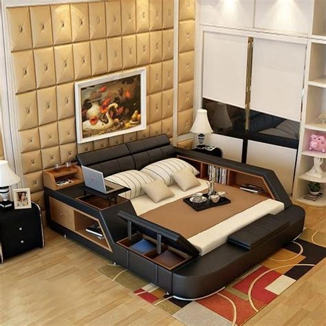 bedroom furniture sets modern leather queen size double bed frame products cheap bedroom