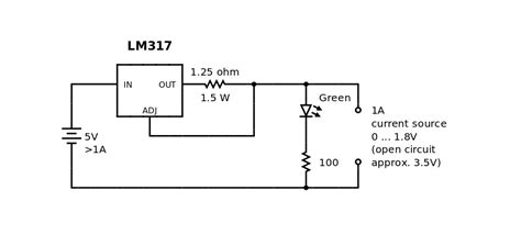alimentatori stabilizzati regolabili voltage regulator lm317 current source sense resistor