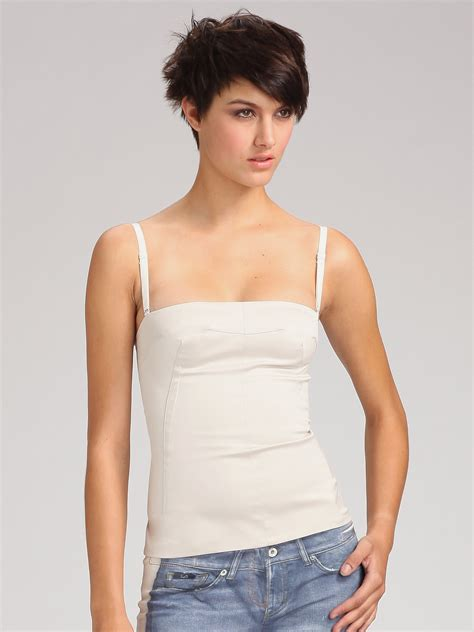 Bustier Tops by D G Stretch Cotton Sateen Bustier Top In Beige White Lyst