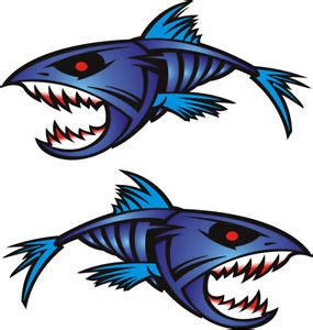 boat decals large 2 large blue piranha 450mm x 250mm boat graphics stickers